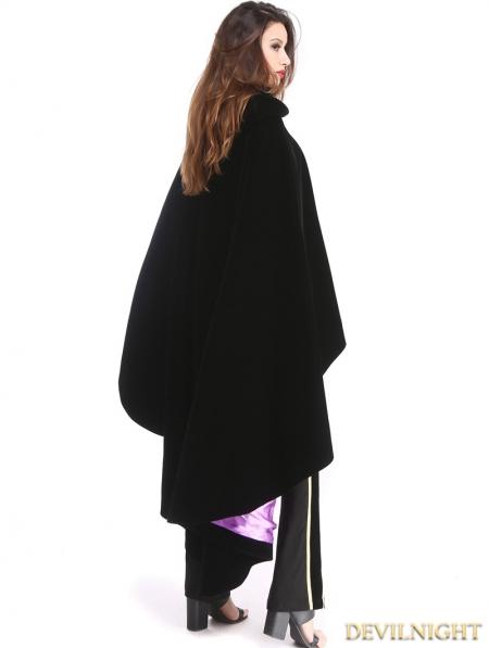fc02b871197 Black and Purple Gothic Female Velvet Long Hoodie Coat - Devilnight ...