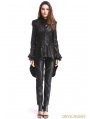 Black Gothic PU Leather Swallow Tail Jacket for Women