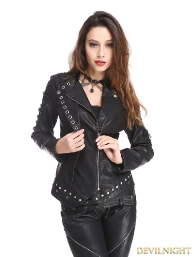 Black PU Leather Rivets Gothic Punk Short Jacket for Women