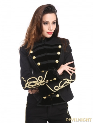 Black and Gold Gothic Military Uniform Short Jacket for Women