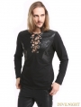 Black Gothic Warrior Long Sleeves T-Shirt for Men
