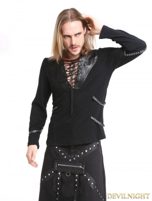 Black Gothic Punk Rivet Belt Long Sleeves T-Shirt for Men