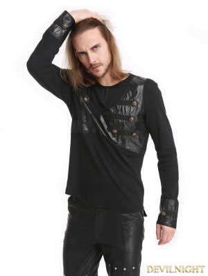 Black Gothic Button Long Sleeves T-Shirt for Men