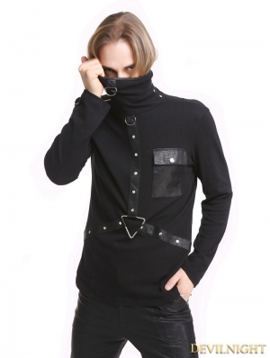 Black Gothic Punk High-Necked Shirt for Men