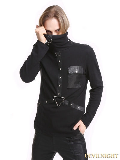 Black Gothic Punk High-Necked Shirt for Men