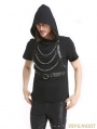 Black Gothic Punk Hooded Chain Short Sleeves Shirt for Men