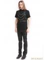 Black Gothic Punk Hooded Chain Short Sleeves Shirt for Men