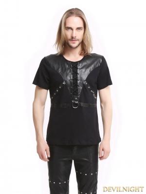 Black Gothic Punk Soilder Short Sleeves T-Shirt for Men