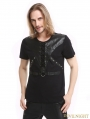 Black Gothic Punk Soilder Short Sleeves T-Shirt for Men