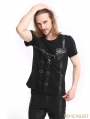Black Gothic Punk Zipper Short Sleeves T-Shirt for Men