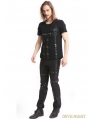 Black Gothic Punk Zipper Short Sleeves T-Shirt for Men