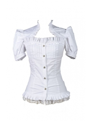 White Short Sleeves Gothic Cap Blouse for Women
