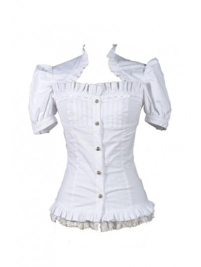 White Short Sleeves Gothic Cap Blouse for Women