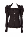 Black Long Sleeves Gothic Cap Blouse for Women