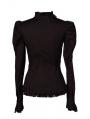 Black Long Sleeves Gothic Cap Blouse for Women