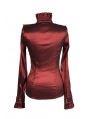 Red High Collar Long Sleeves Ruffle Gothic Blouse for Women