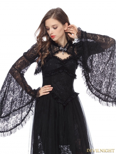 Black Gothic Lace Cape with Big Sleeves