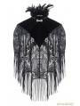 Black Gothic Palace Style Velvet Feather Cape with Tassels Lace