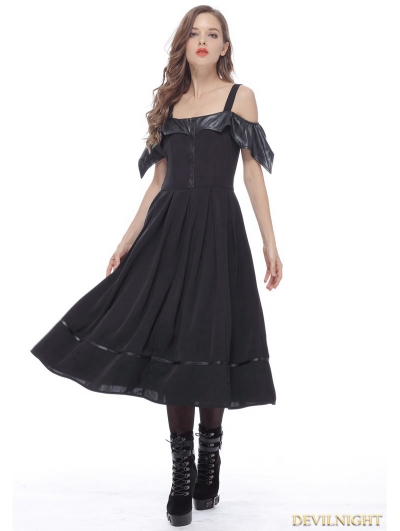 Black Gothic Bat Style Off-the-Shoulder Dress