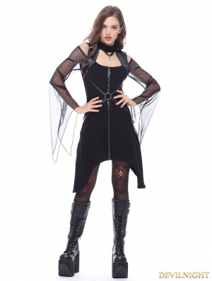 Black Gothic Punk T Off-the-Shoulder Dress