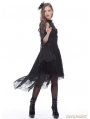 Black Gothic Elegant Lace High-Low Dress