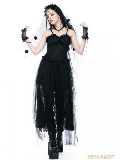 Black Romantic Gothic Spaghetti Straps Lace Dress