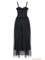 Black Romantic Gothic Spaghetti Straps Lace Dress