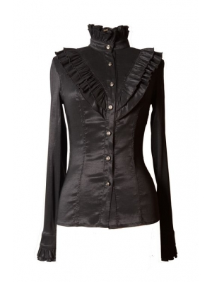 Black High Collar Long Sleeves Ruffle Gothic Blouse for Women