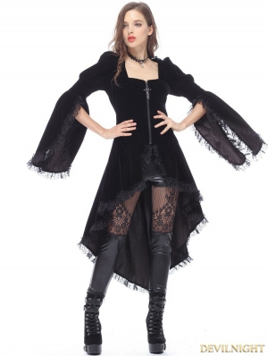 Black Gothic Noble Velvet Cocktail Jacket for Women