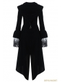 Black Gothic Witch Mysterious Velvet Coat with Detachable Cross