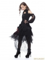 Black Gothic Messy Mesh and Lace Skirt