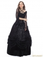 Black Gothic Long Skirt with Luxuriant Flocking Lace