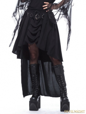 Black Gothic Ring Band Cocktail Chiffon Skirt