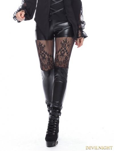 Black Gothic Sexy Lace Flower Leggings