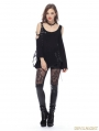 Black Gothic Punk Asymmetric Off-Shoulder T-shirt for Women
