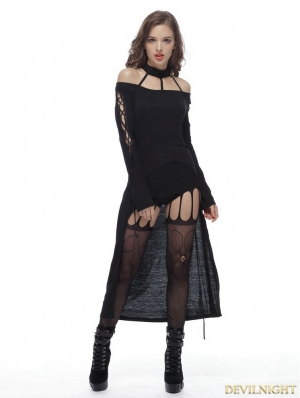 Black Gothic Punk Vertebra Long Vack T-shirt for Women