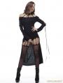 Black Gothic Punk Vertebra Long Vack T-shirt for Women