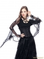 Black Vintage Gothic Long Trumpet Sleeves Star T-shirt for Women