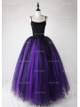 Black and Purple Gothic Ball Gown Tulle Long Maxi Skirt