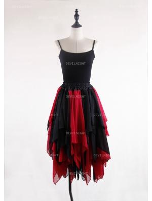 Black and Red Gothic Chiffon Irregular Knee Length Skirt