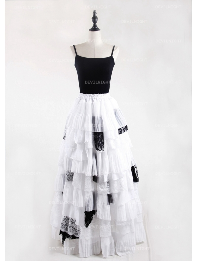 Black and White Gothic Irregular Chiffon Cupcake Long Maxi Skirt