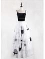 Black and White Gothic Irregular Chiffon Cupcake Long Maxi Skirt