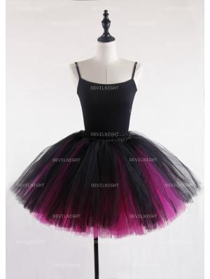 Black and Fuchsia Gothic Tulle Short Skirt