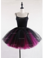 Black and Fuchsia Gothic Tulle Short Skirt