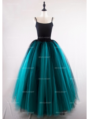Black and Tiffany Blue Gothic Ball Gown Tulle Long Maxi Skirt