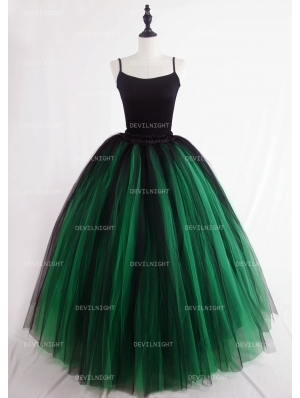 Black and Green Gothic Ball Gown Tulle Long Maxi Skirt