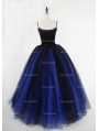 Black and Blue Gothic Ball Gown Tulle Long Maxi Skirt