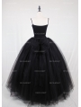Black Gothic Ball Gown Tulle Long Maxi Skirt with Bow Back