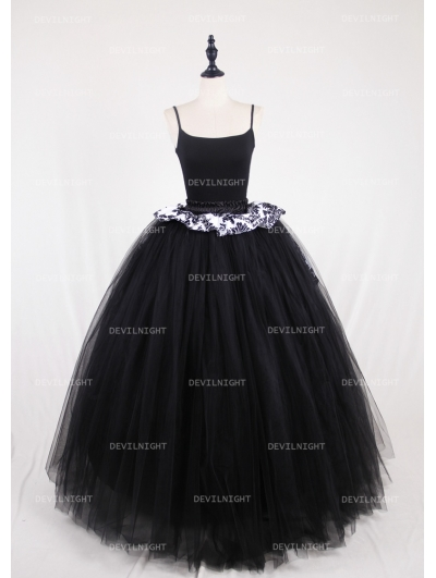 Black Gothic Victorian Ball Gown Tulle Long Maxi Skirt