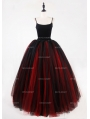 Black and Red Gothic Ball Gown Tulle Long Maxi Skirt